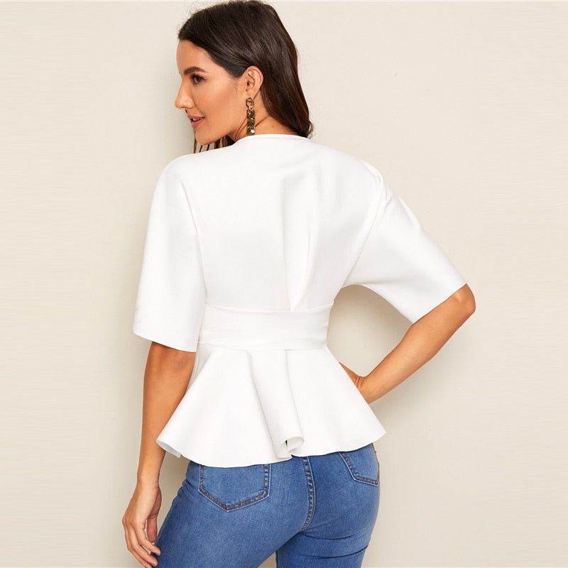 V neck Peplum Top