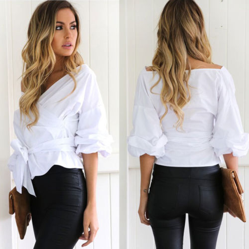 Off Shoulder V Neck Blouse
