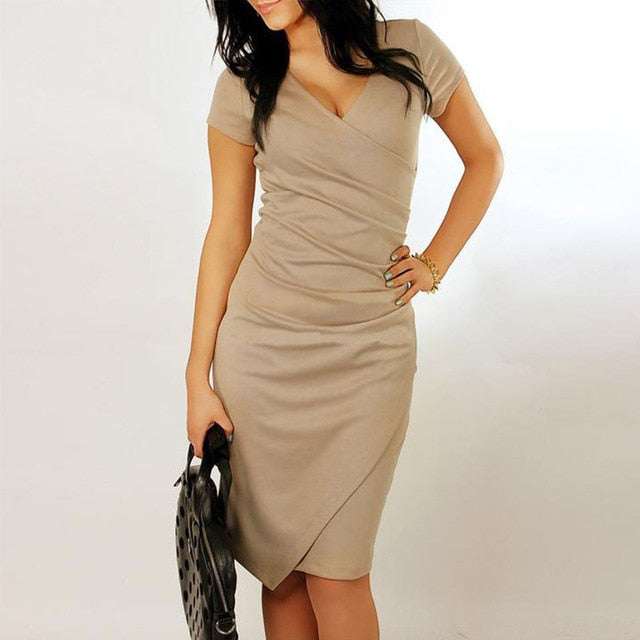 Irregular V-Neck  Pencil Dress