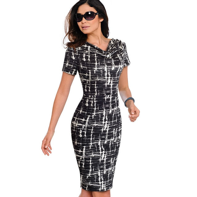 Bodycon Sheath  Office Ruffled Dress