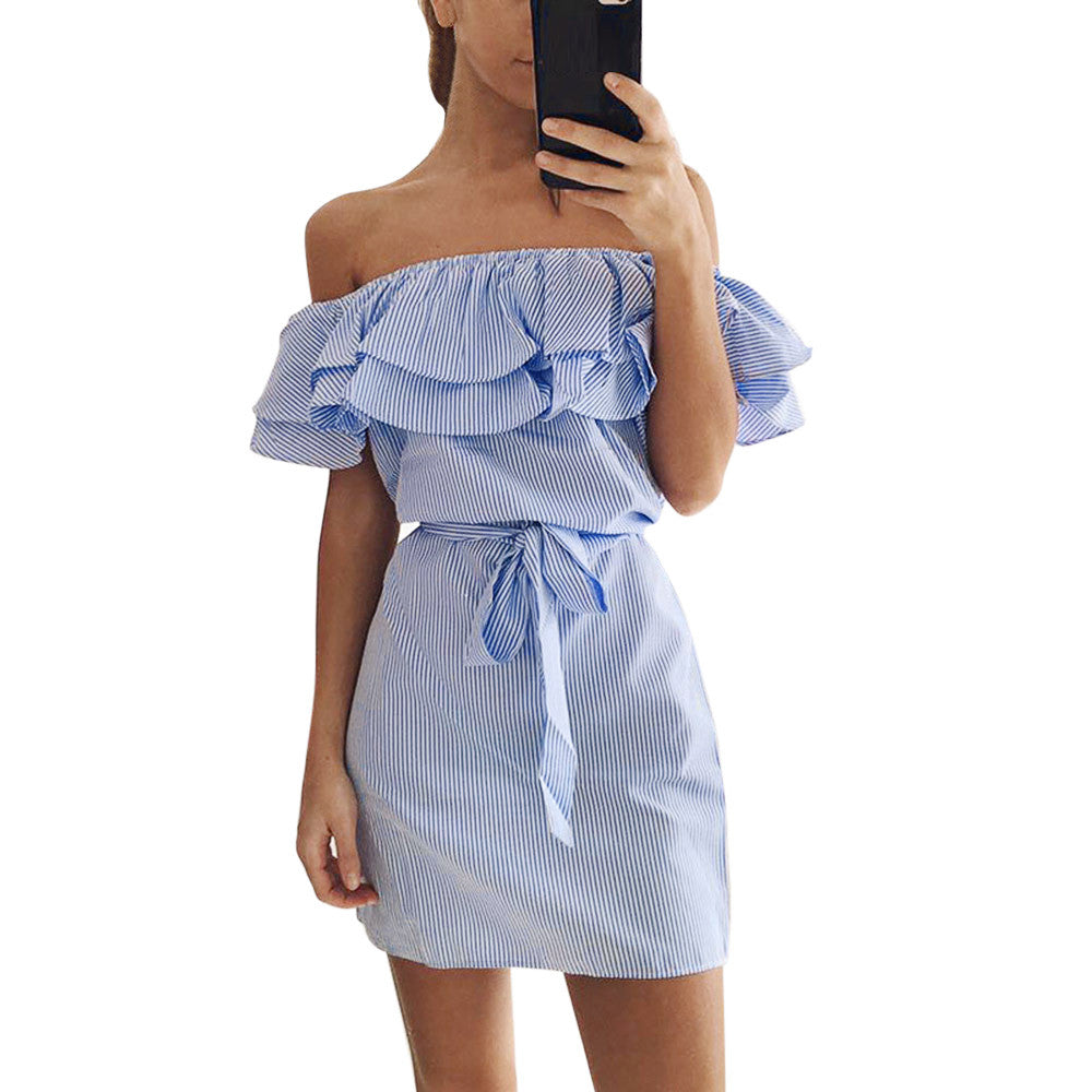 Striped Off-Shoulder Ruffle Dress