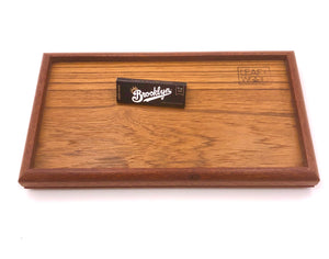 Hand crafted Teak rolling tray with brooklyn rolling papers