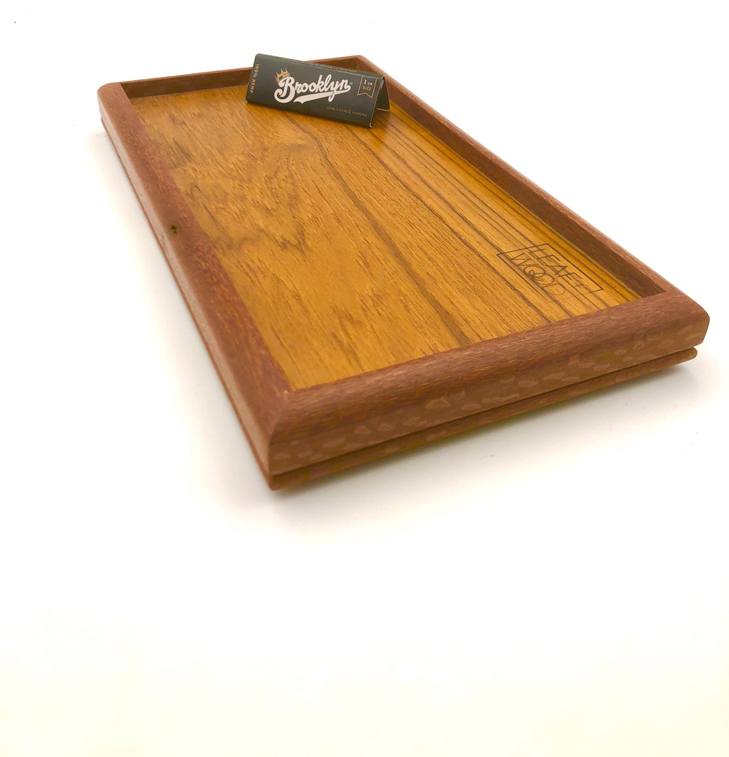 Teak and mahogany rolling tray