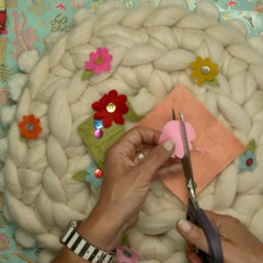 Crochet Cushion cutting felt flowers for front