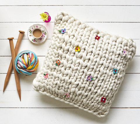 Giant Extreme Knitted Floor Cushion from Easy Stuff to Make with Fluff by Gillian Harris