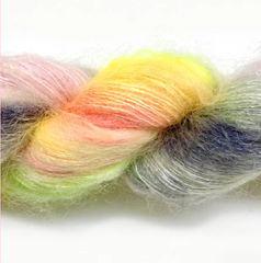 Gilliangladrag Holy Fluff hand dyed Kid Silk Mohair Lace weight yarn for Knit a Jumper CLub
