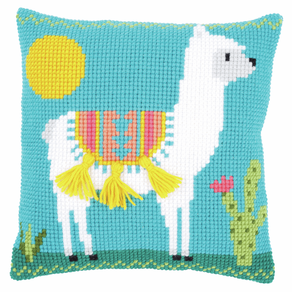 Llama Cross Stitch Cushion Kit with tassels