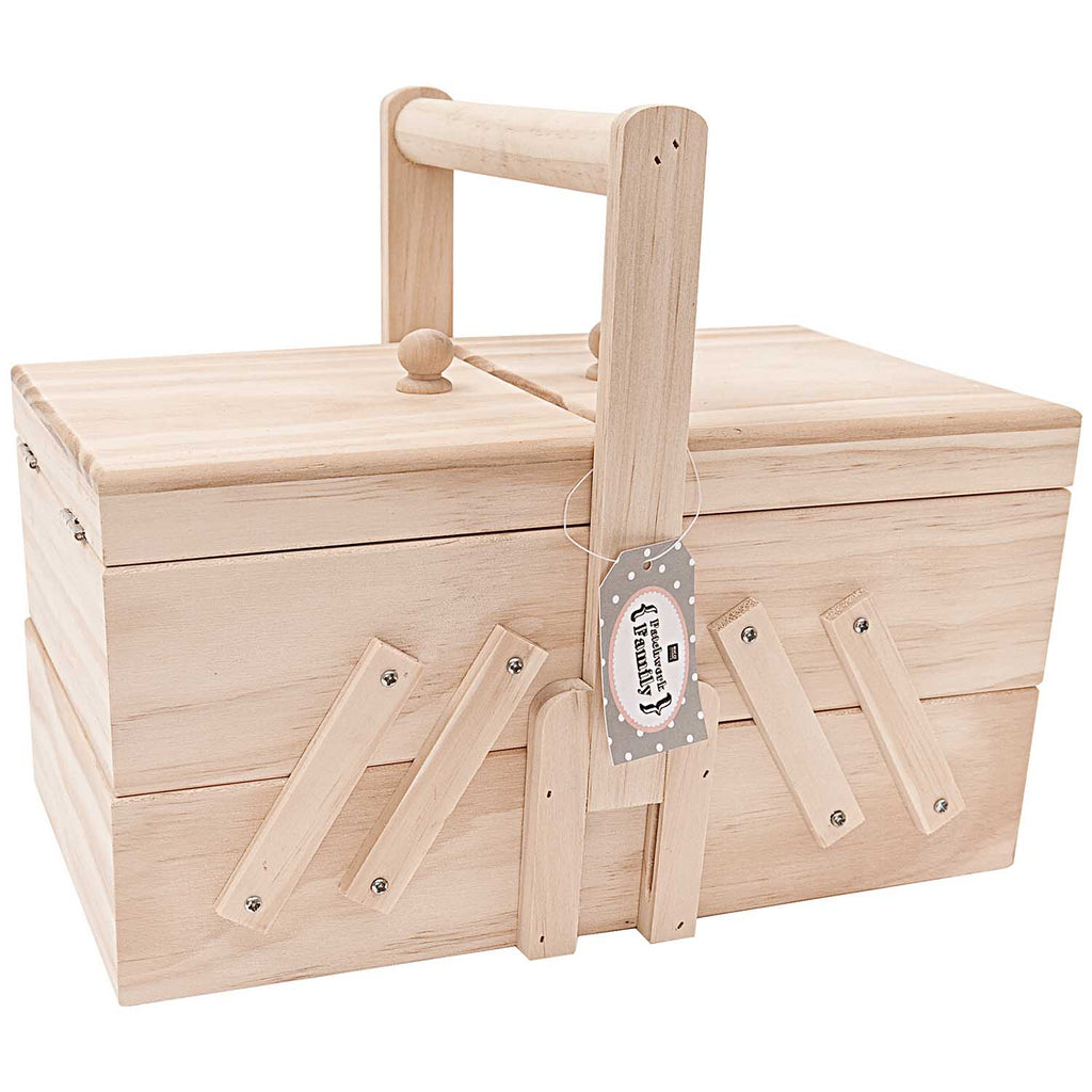 Wooden Concertina Sewing Box : Large