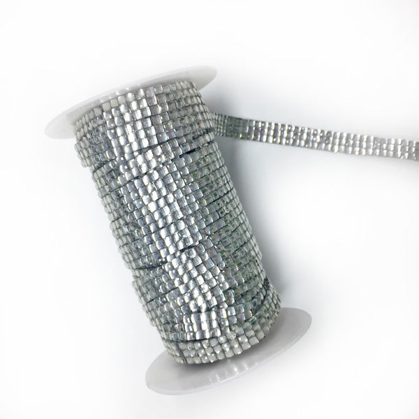 12mm Iron On Diamante Strip (per metre) 02 Silver per metre