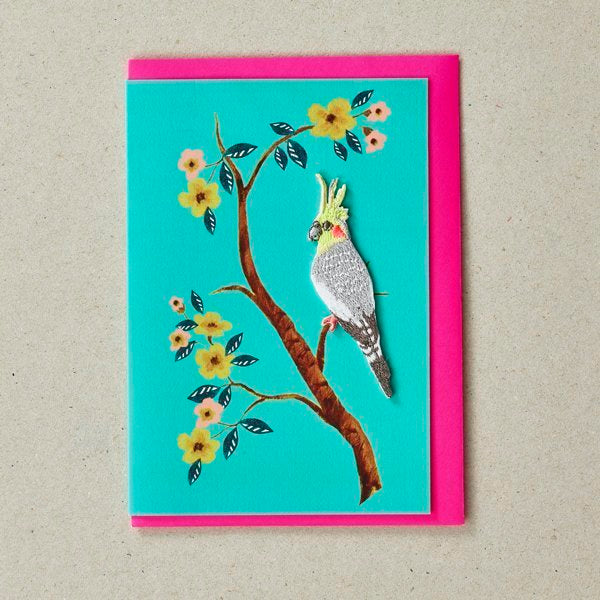 Embroidered Bird Patch (Iron On) On Turquoise Greetings Card