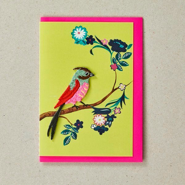 Embroidered Bird Patch (Iron On) On Green Greetings Card