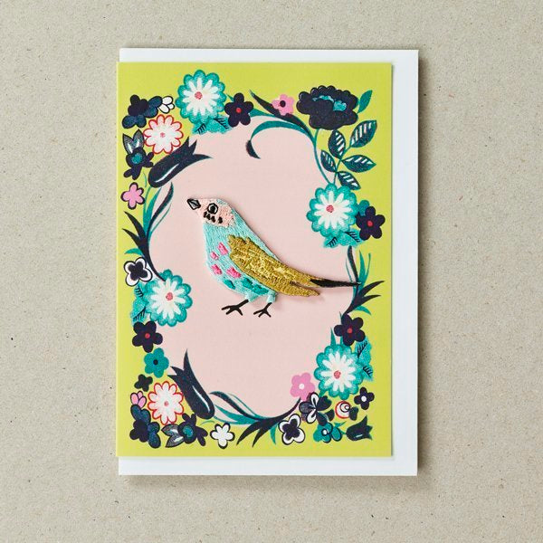 Embroidered Bird Patch (Iron On) On Pink Oval Greetings Card