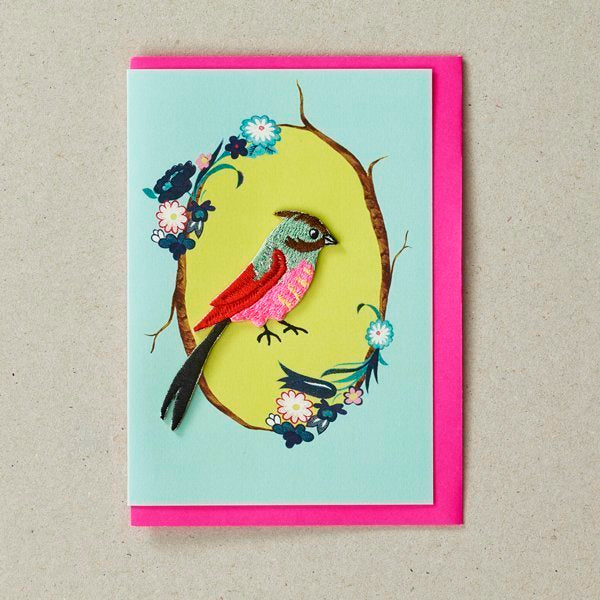 Red Pink Blue Bird Patch (Iron On) Greetings Card