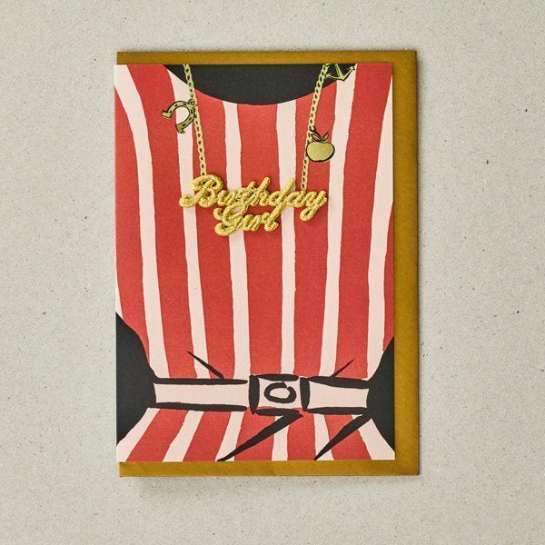 Red Stripes Birthday Girl Greetings Card