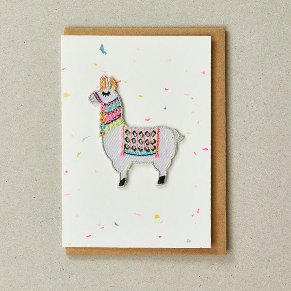 Llama Patch (Iron On) Greetings Card