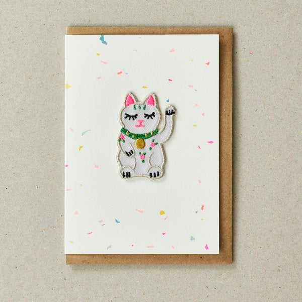 Lucky Waving Cat Patch (Iron On) Greetings Card