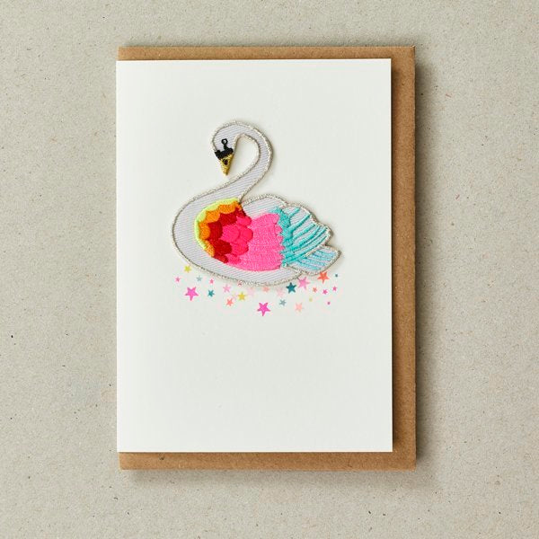 Rainbow Swan Patch (Iron On) Greetings Card