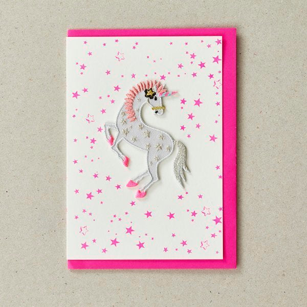 Unicorn Patch (Iron On) Greetings Card