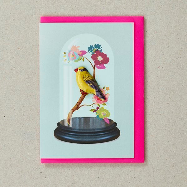 Bird on Cloche Tin Badge Greetings Card