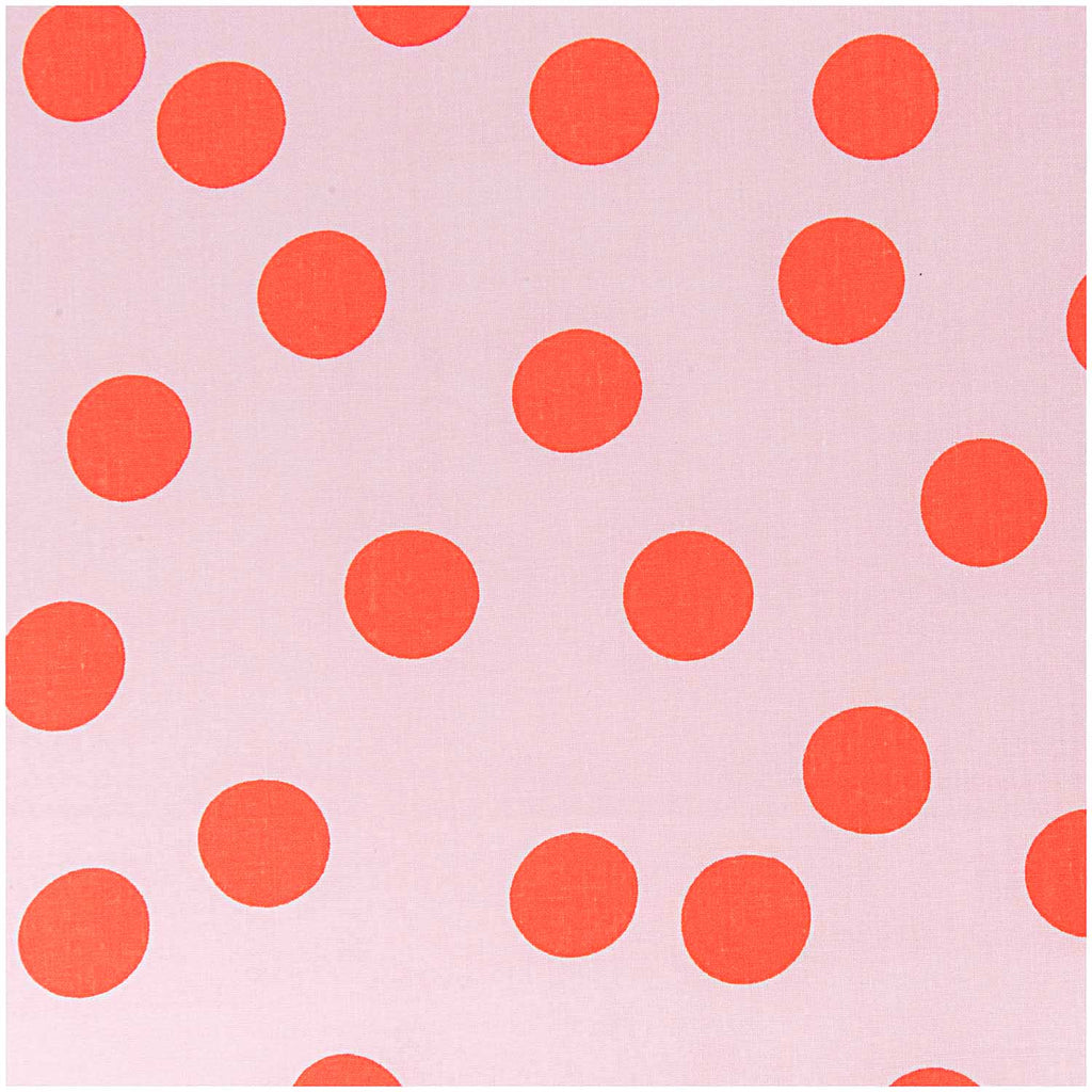 Big Pink Neon Polka Dots Cotton Fabric Half Metre : 50x140cm