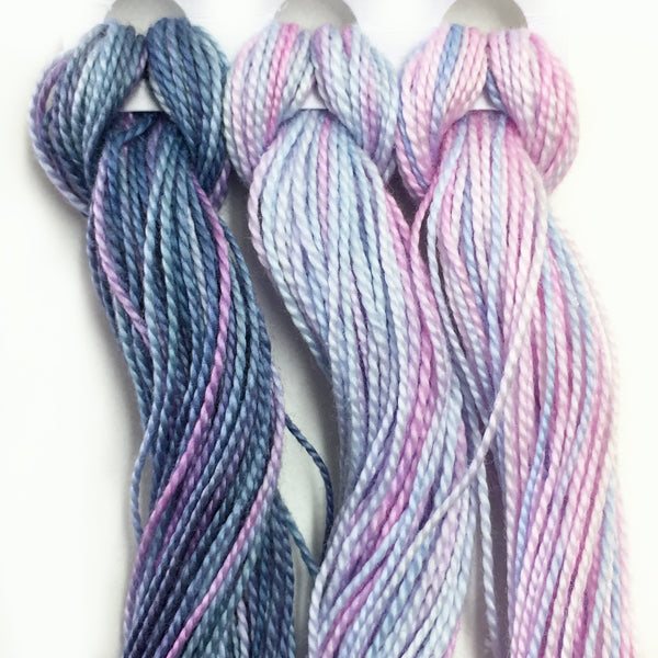 Hand Dyed Perle 8 threads x 3 Hydrangea