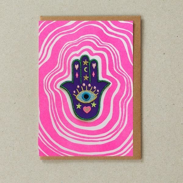 Lucky Hand Patch (Iron On) Greetings Card