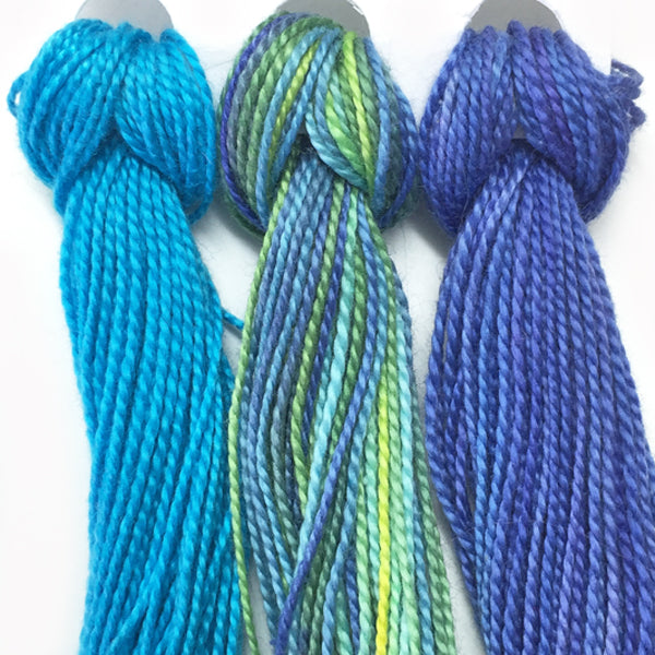 Hand Dyed Perle 8 threads x 3 Aquatic