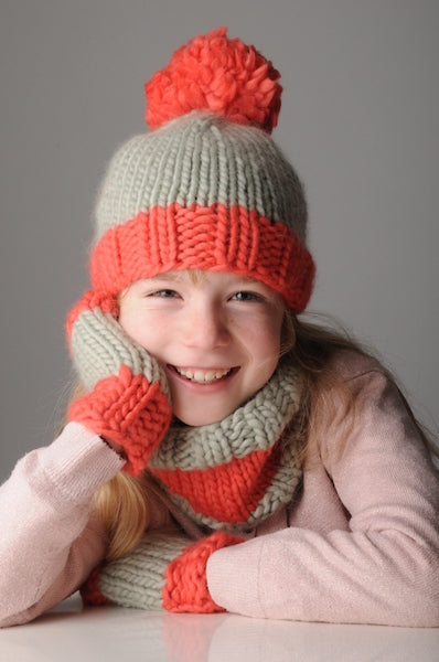 Plump Super Chunky Knitting Pattern -Kids Hat Mitts & Cowl