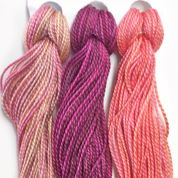 Hand Dyed Perle 8 threads x 3 Fuschia