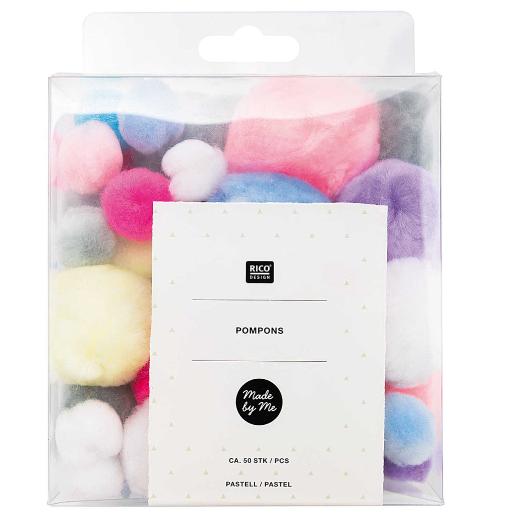 51 Mixed Mini Fluffy Pompoms in 4 sizes - Pastels