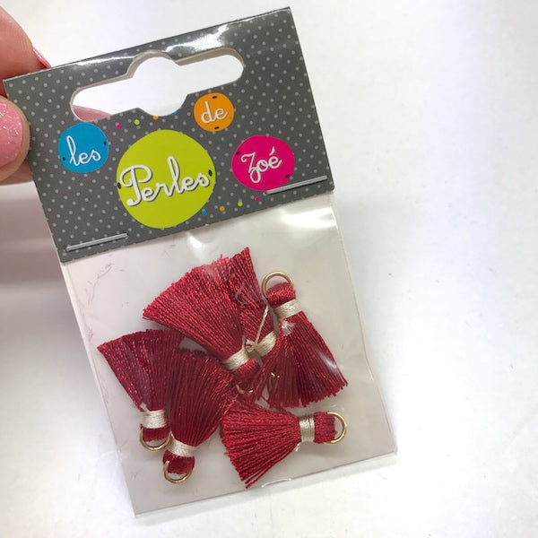 5 x Mini Tassel 520 Red 2cm