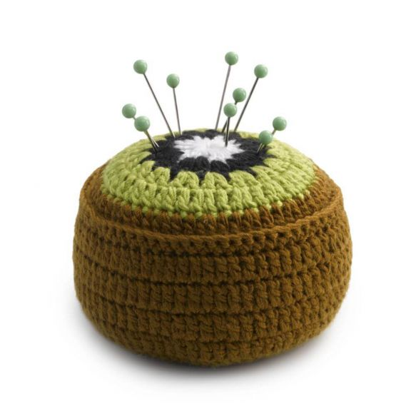 Kiwi Crocheted Pin cushion - fixing weight 6cm