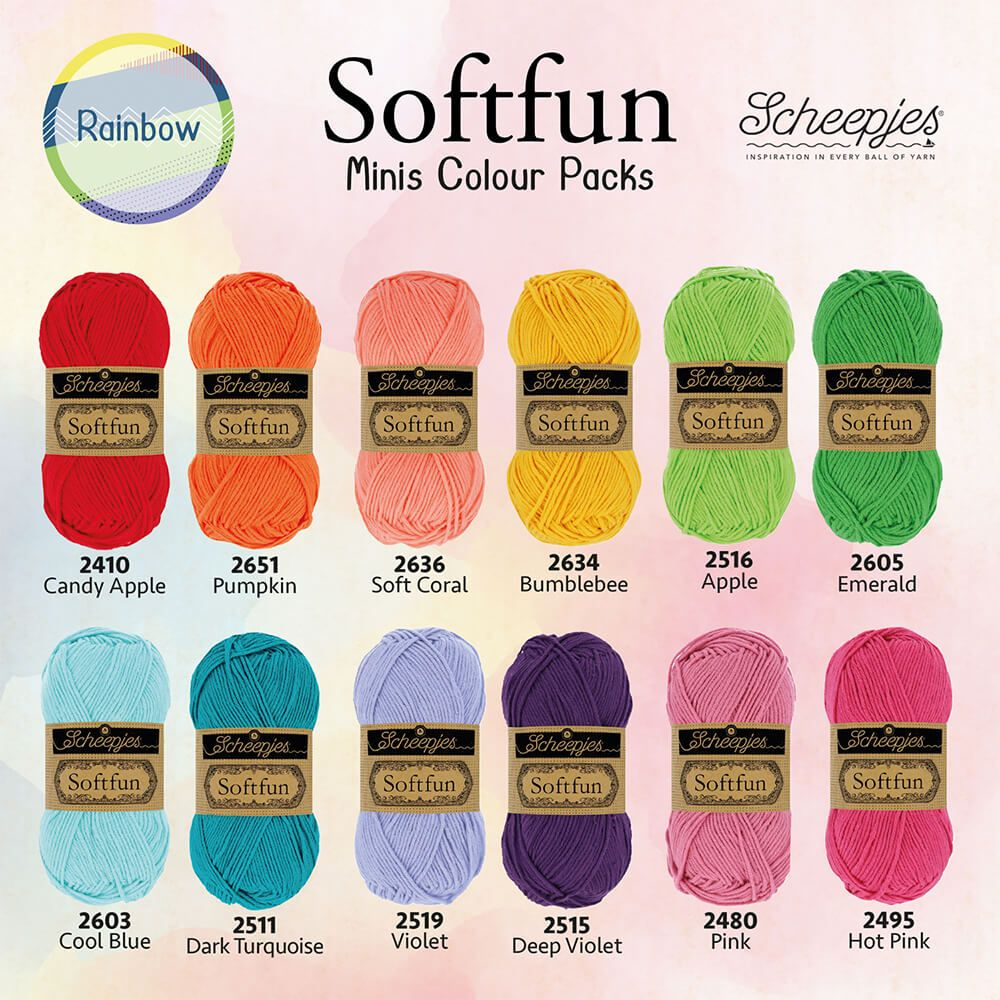 Scheepjes Softfun Colour Pack 12 x 20g Rainbow