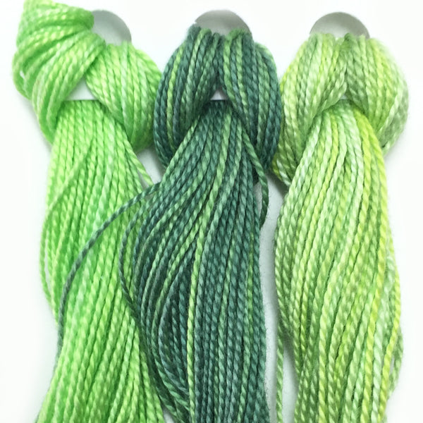 Hand Dyed Perle 8 threads x 3 Apple