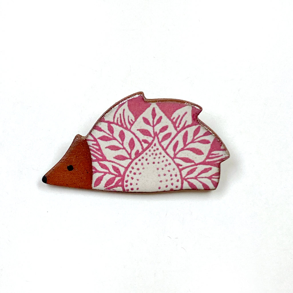 Handmade Ceramic Brooch : Pink Hedgehog