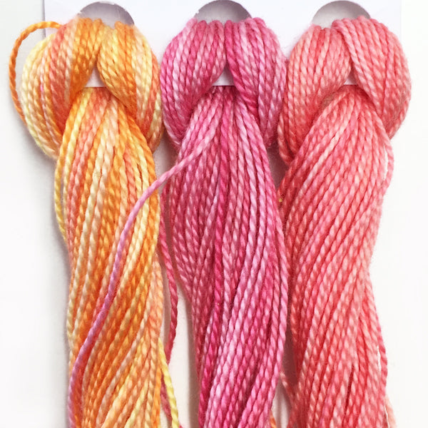Hand Dyed Perle 8 threads x 3 Tropicana