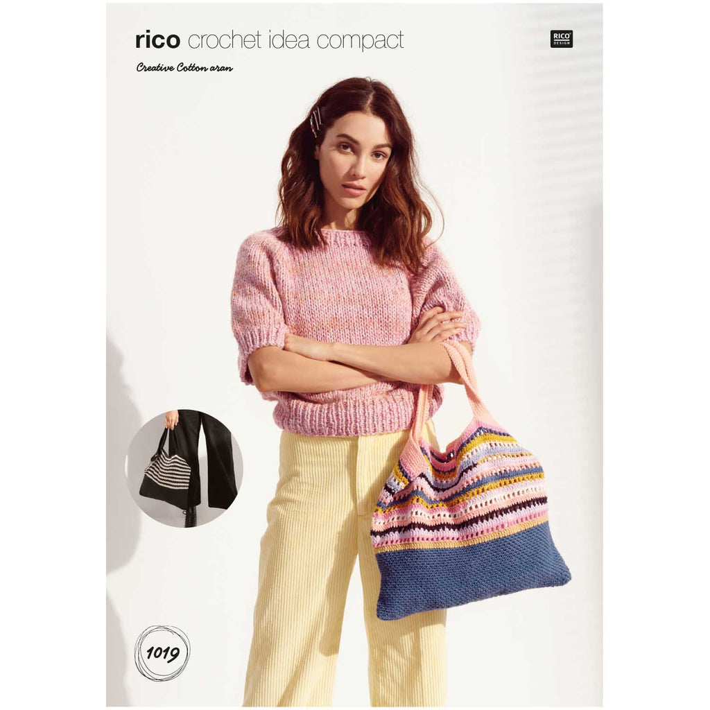 Rico Creative Cotton Aran Crochet Pattern Tote Bag 1019
