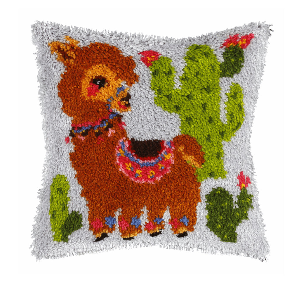 Latch Hook Kit: Cushion: Large: Llama