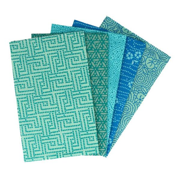 Tissu de Marie Fabric Fat Quarter Bundle: 5 x 50cm x 57cm : Tranquil Teal