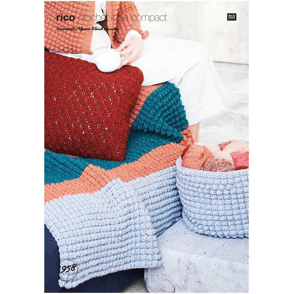 Rico Alpaca Blend Chunky Crochet Pattern 958 Cushion