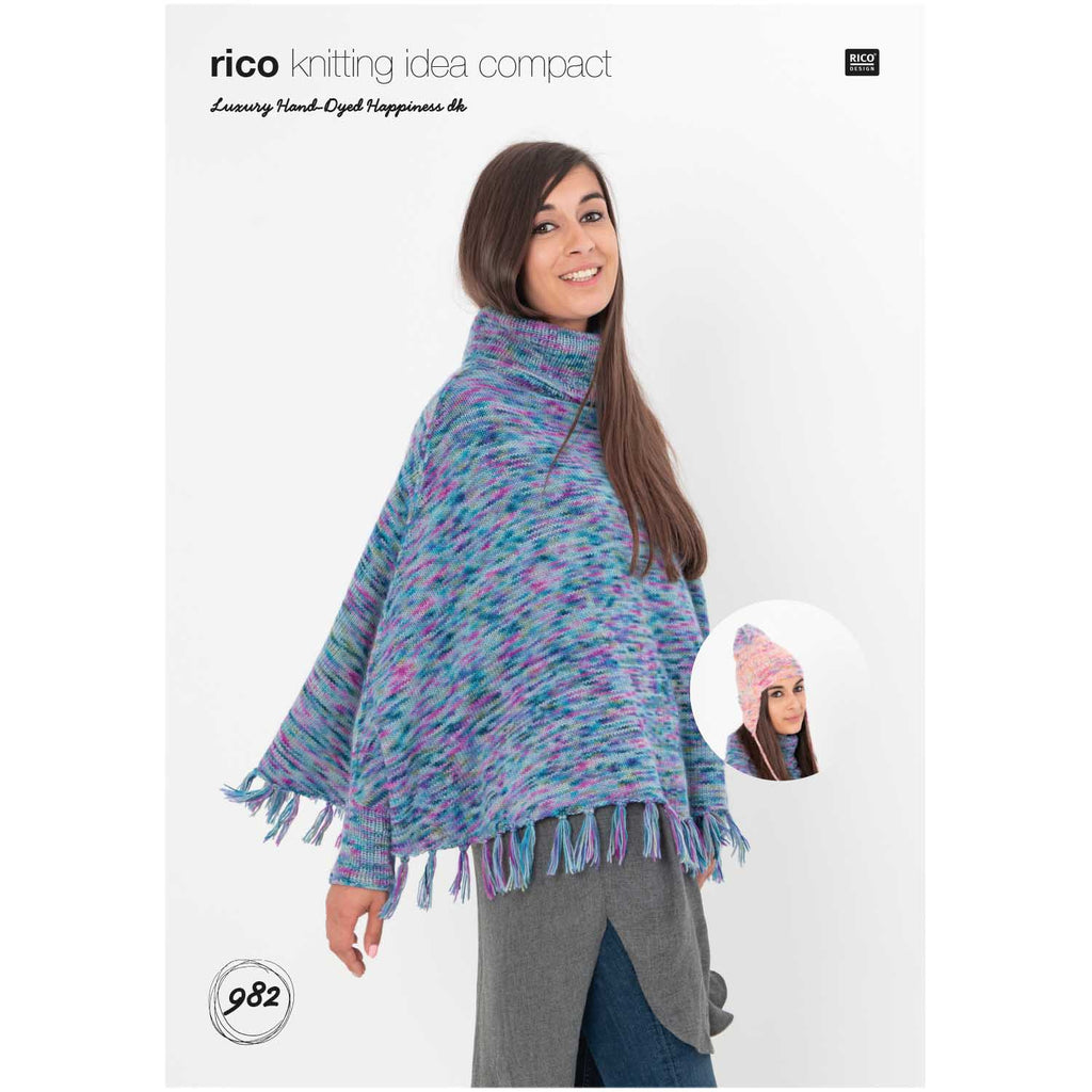 Rico Luxury Hand-Dyed Happiness Dk Poncho-Sweater & Hat Pattern
