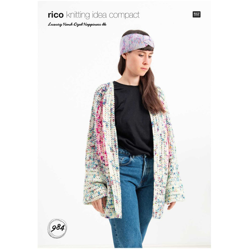 Rico Luxury Hand-Dyed Happiness Dk Crochet Cardigan Pattern