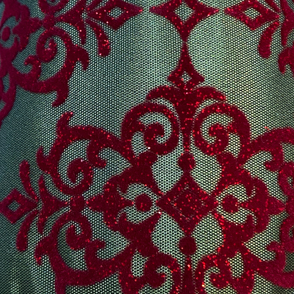 Wired Arabesque Christmas Flock Ribbon