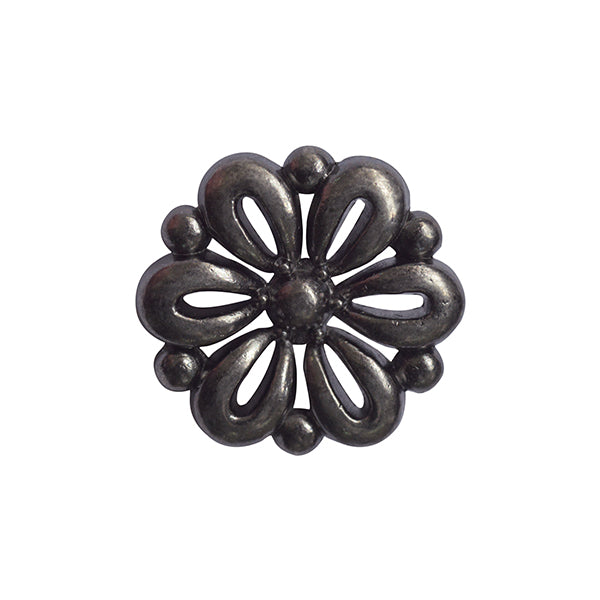 Metal Flower Button Silver 15mm