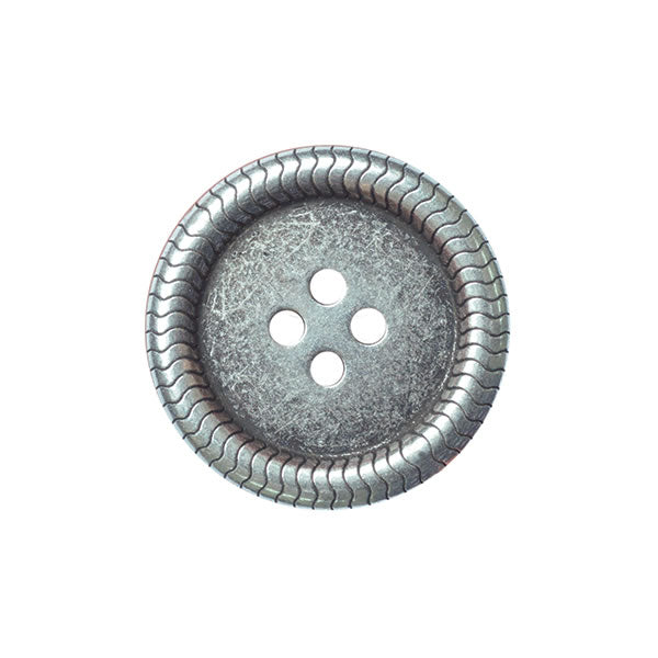Metal Button 15mm Old Silver