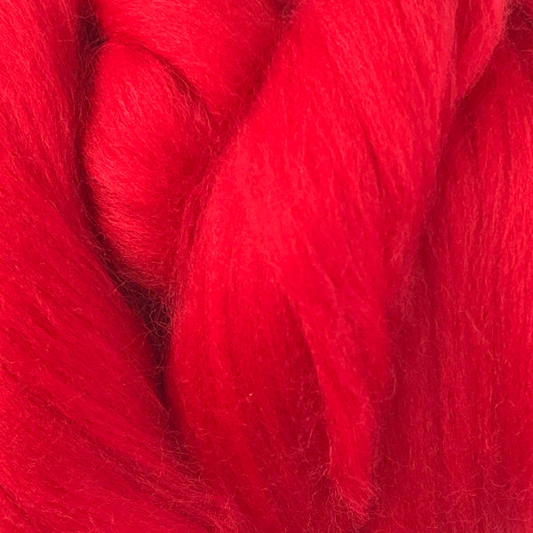 100g Bright Red Merino Wool Tops for felting & giant knitting