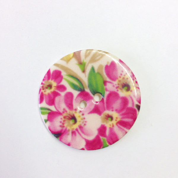 Handmade Ceramic Button Floral Round Large 6042