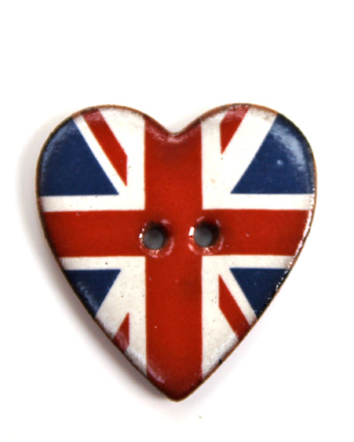 Handmade Ceramic Button Union Jack Heart 9024