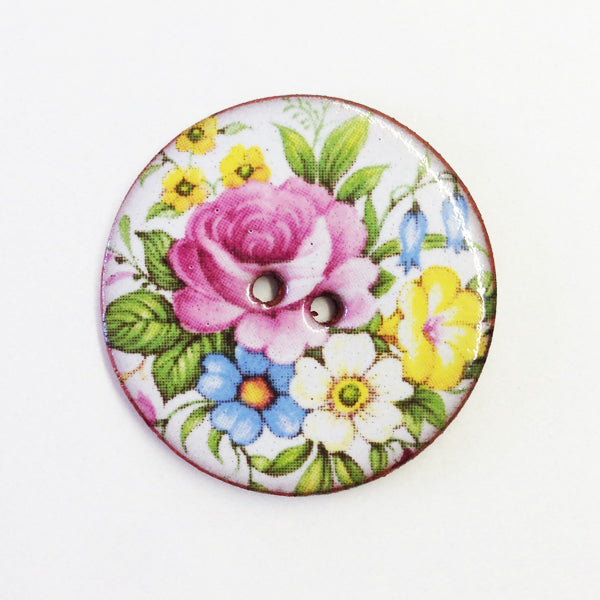 Handmade Ceramic Button Floral Round Large 6672