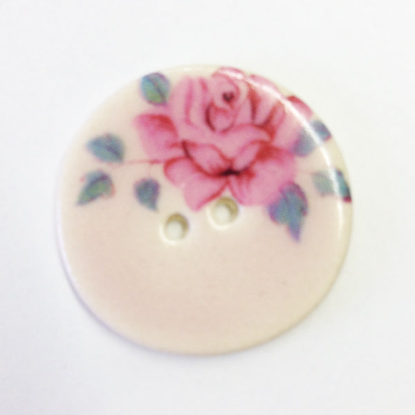 Handmade Ceramic Button Floral Round Medium 6679